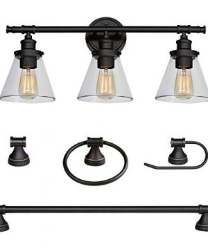 Globe Electric Parker 5 Piece All In One Bath Set Oil Rubbed Bronze Finish 3 Light Vanity Towel Bar Towel Ring Robe Hook Toilet Paper Holder 50192 0 300x360