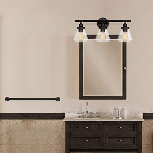 Globe Electric Parker 5 Piece All In One Bath Set Oil Rubbed Bronze Finish 3 Light Vanity Towel Bar Towel Ring Robe Hook Toilet Paper Holder 50192 0 4