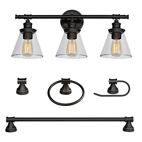 Globe Electric Parker 5 Piece All In One Bath Set Oil Rubbed Bronze Finish 3 Light Vanity Towel Bar Towel Ring Robe Hook Toilet Paper Holder 50192 0