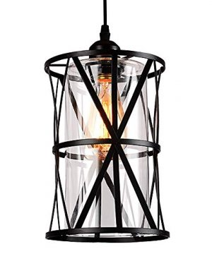 HMVPL Industrial Pendant Light Fixtures Adjustable Modern Farmhouse Style Swag Hanging Chandelier With Glass Lampshade For Kitchen Island Bed Room Hallway Bar 0 1 300x360