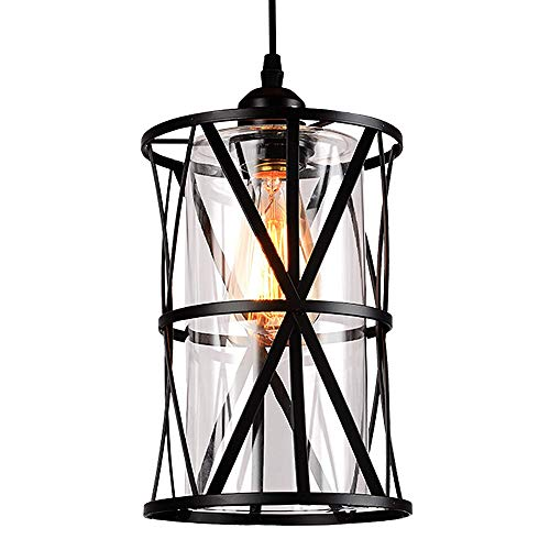HMVPL Industrial Pendant Light Fixtures Adjustable Modern Farmhouse Style Swag Hanging Chandelier With Glass Lampshade For Kitchen Island Bed Room Hallway Bar 0 1