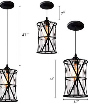 HMVPL Industrial Pendant Light Fixtures Adjustable Modern Farmhouse Style Swag Hanging Chandelier With Glass Lampshade For Kitchen Island Bed Room Hallway Bar 0 2 300x360