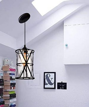 HMVPL Industrial Pendant Light Fixtures Adjustable Modern Farmhouse Style Swag Hanging Chandelier With Glass Lampshade For Kitchen Island Bed Room Hallway Bar 0 3 300x360