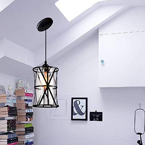 Hmvpl Pendant Lighting Fixtures Black Farmhouse Hanging Chandelier Lights With Gl Shade Mini Ceiling Goals