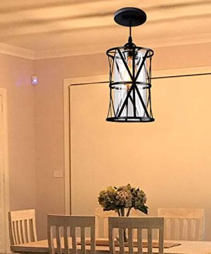 HMVPL Industrial Pendant Light Fixtures Adjustable Modern Farmhouse Style Swag Hanging Chandelier With Glass Lampshade For Kitchen Island Bed Room Hallway Bar 0 4 300x360