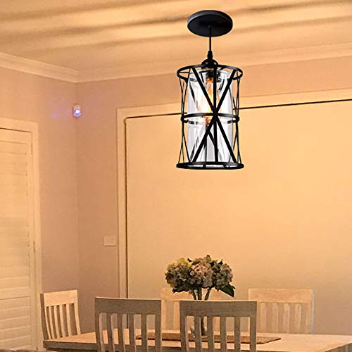 HMVPL Industrial Pendant Light Fixtures Adjustable Modern Farmhouse Style Swag Hanging Chandelier With Glass Lampshade For Kitchen Island Bed Room Hallway Bar 0 4
