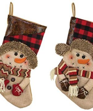 Hannas Handiworks Country Pine Snowmen 18 Inch Fabric Leatherette Christmas Stockings Assorted Set Of 2 0 300x360