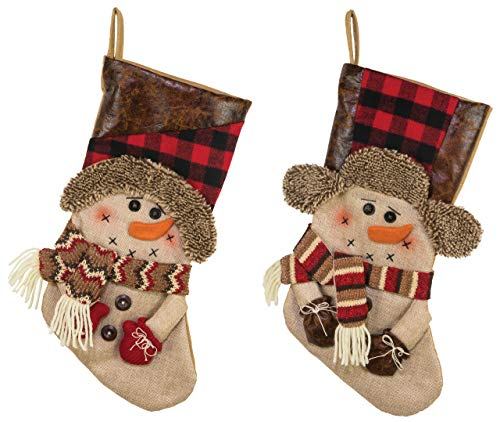 Hannas Handiworks Country Pine Snowmen 18 Inch Fabric Leatherette Christmas Stockings Assorted Set Of 2 0