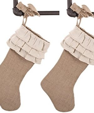 Holiday Dcor Jute Design Natural Christmas Stocking Ruffles 2 Pack 0 300x360