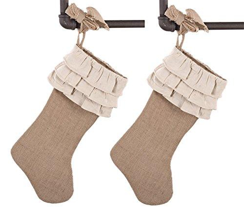 Holiday Dcor Jute Design Natural Christmas Stocking Ruffles 2 Pack 0