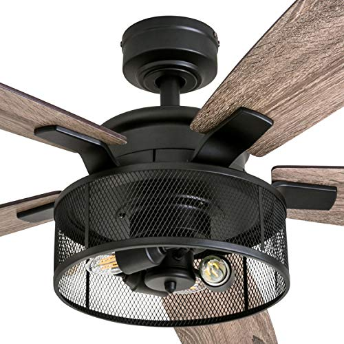 Honeywell Ceiling Fans 50614 01 Carnegie LED Ceiling Fan 52 Indoor Rustic Barnwood Blades Industrial Cage Light Matte Black 0 0