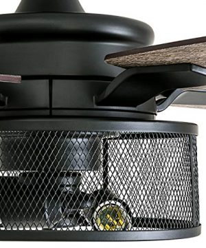 Honeywell Ceiling Fans 50614 01 Carnegie LED Ceiling Fan 52 Indoor Rustic Barnwood Blades Industrial Cage Light Matte Black 0 1 300x360