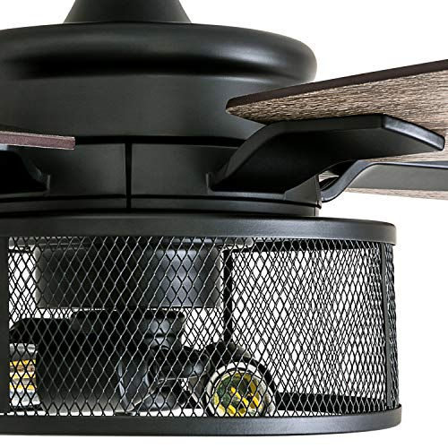 Honeywell Ceiling Fans 50614 01 Carnegie LED Ceiling Fan 52 Indoor Rustic Barnwood Blades Industrial Cage Light Matte Black 0 1