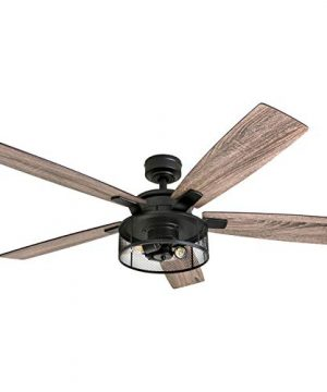 Honeywell-Ceiling-Fans-50614-01-Carnegie-LED-Ceiling-Fan-52-Indoor-Rustic-Barnwood-Blades-Industrial-Cage-Light-Matte-Black-0