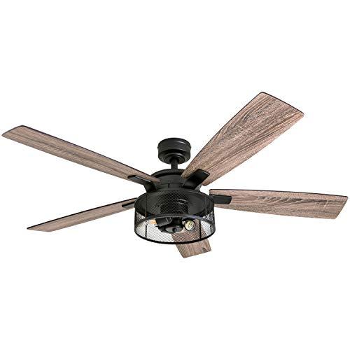 Honeywell-Ceiling-Fans-50614-01-Carnegie-LED-Ceiling-Fan-52-Indoor-Rustic-Barnwood-Blades-Industrial-Cage-Light-Matte-Black-0
