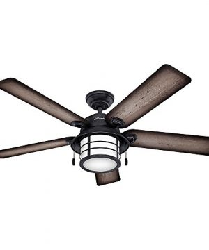 Hunter 59135 Key Biscayne 54 Weathered Zinc Ceiling Fan With Five Burnished Gray PineGray Pine Reversible Blades 0 300x360