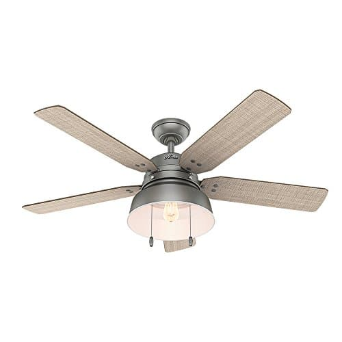 Hunter 59308 Mill Valley 52 Ceiling Fan With Light Large Matte Silver 0 0