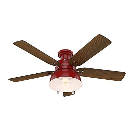 Hunter 59312 Mill Valley 52 OTH867 Ceiling Fan With Light Large Barn Red 0