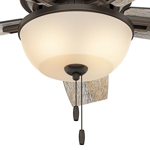Hunter Fan 52 Inch Low Profile Ceiling Fan In Onyx Bengal With LED Bowl Light Kit And 5 Barnwood Fan Blades Renewed 0 1