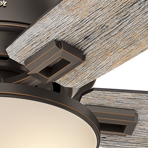 Hunter Fan 52 Inch Low Profile Ceiling Fan In Onyx Bengal With LED Bowl Light Kit And 5 Barnwood Fan Blades Renewed 0 2