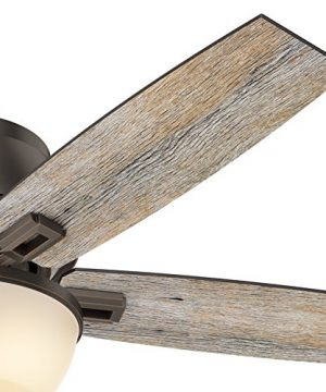 Hunter Fan 52 Inch Low Profile Ceiling Fan In Onyx Bengal With LED Bowl Light Kit And 5 Barnwood Fan Blades Renewed 0 3 300x360