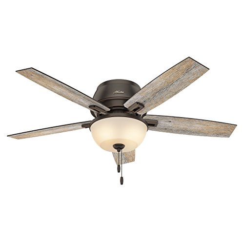 Hunter Fan 52 Inch Low Profile Ceiling Fan In Onyx Bengal With LED Bowl Light Kit And 5 Barnwood Fan Blades Renewed 0 4