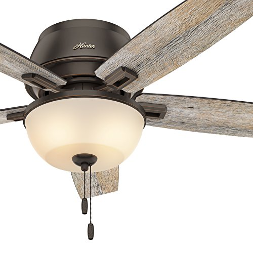 Hunter Fan 52 Inch Low Profile Ceiling Fan In Onyx Bengal With LED Bowl Light Kit And 5 Barnwood Fan Blades Renewed 0