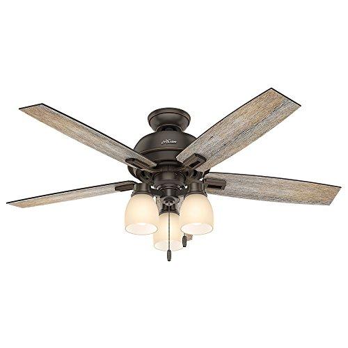 Hunter Fan Company 53336 Hunter 52 Donegan Onyx Bengal Ceiling Fan With Light White 0