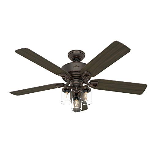 Hunter Fan Company 54201 Hunter 52 Devon Park Onyx Bengal LED Light And Handheld Remote Ceiling Fan 0 0