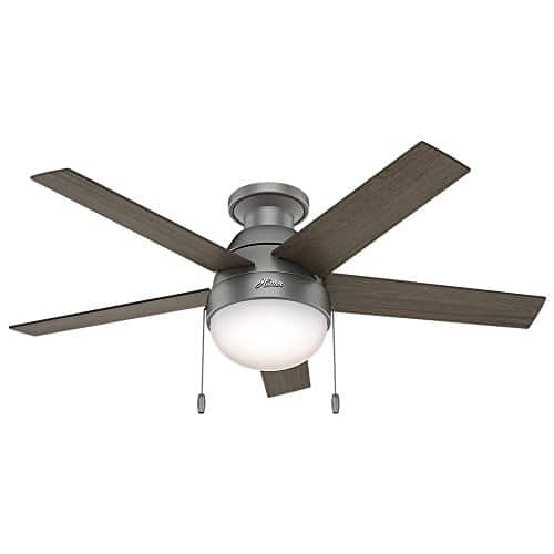 Hunter Fan Company 59270 Hunter 46 Anslee Low Profile Matte Silver Ceiling Fan With Light 0 0