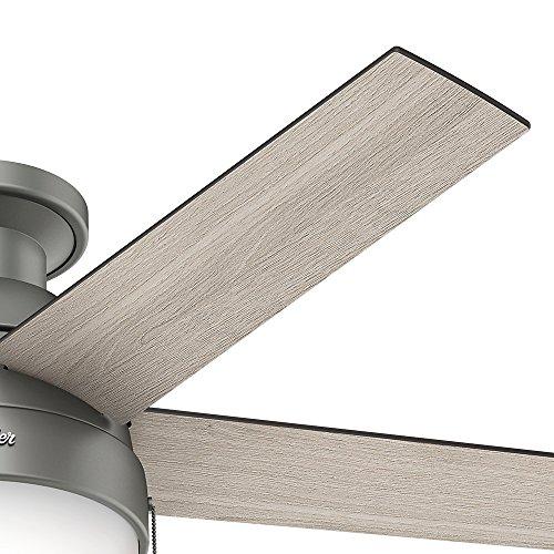 Hunter Fan Company 59270 Hunter 46 Anslee Low Profile Matte Silver Ceiling Fan With Light 0 1