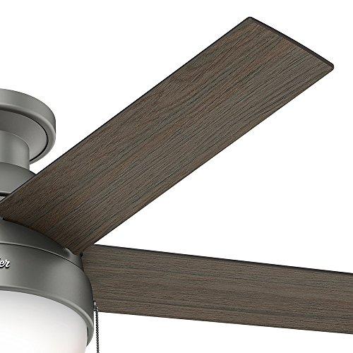 Hunter Fan Company 59270 Hunter 46 Anslee Low Profile Matte Silver Ceiling Fan With Light 0 2