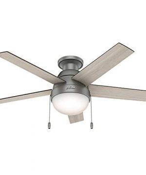 Hunter Fan Company 59270 Hunter 46 Anslee Low Profile Matte Silver Ceiling Fan With Light 0 300x360