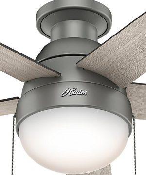 Hunter Fan Company 59270 Hunter 46 Anslee Low Profile Matte Silver Ceiling Fan With Light 0 4 300x360