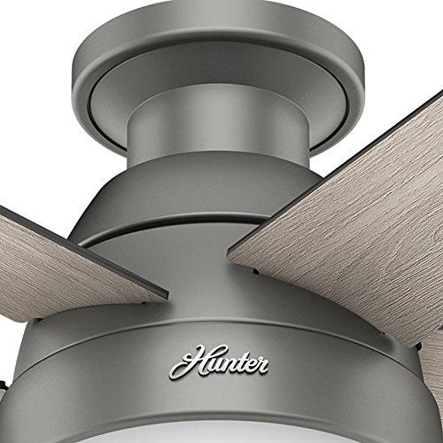 Hunter Fan Company 59270 Hunter 46 Anslee Low Profile Matte Silver Ceiling Fan With Light 0 5