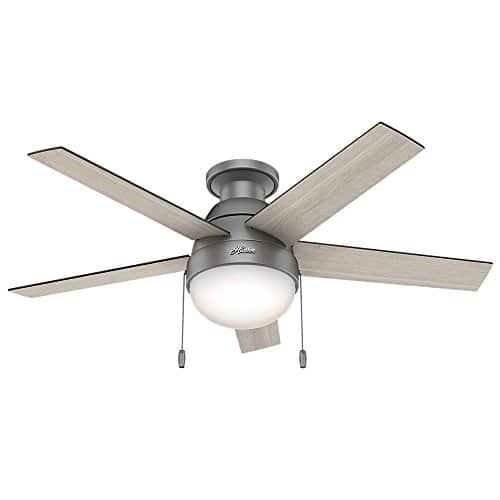 Hunter Fan Company 59270 Hunter 46 Anslee Low Profile Matte Silver Ceiling Fan With Light 0