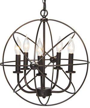 Industrial Vintage Lighting Ceiling Chandelier 5 Lights Metal Hanging Fixture 0 300x360