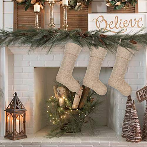 Ivenf Burlap Personalized Christmas Stockings 3 Pack 0 4