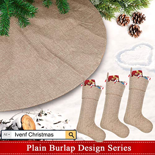 Ivenf Burlap Personalized Christmas Stockings 3 Pack 0 5