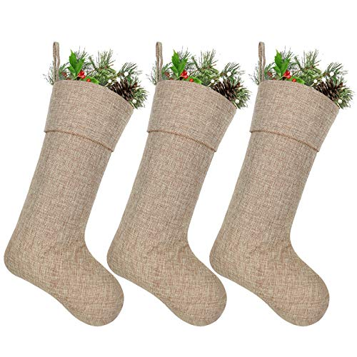 Ivenf Burlap Personalized Christmas Stockings 3 Pack 0