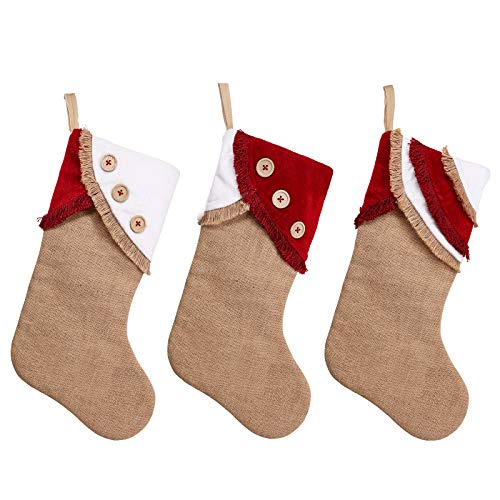 Ivenf Christmas Stockings 3 Pack 18 Inch Large Original Burlap Handcraft Stockings With Tassel For Family Holiday Xmas Party Decorations 0 0