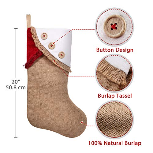 Ivenf Christmas Stockings 3 Pack 18 Inch Large Original Burlap Handcraft Stockings With Tassel For Family Holiday Xmas Party Decorations 0 1
