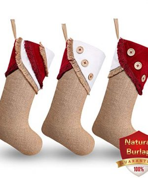 Ivenf Christmas Stockings 3 Pack 18 Inch Large Original Burlap Handcraft Stockings With Tassel For Family Holiday Xmas Party Decorations 0 300x360