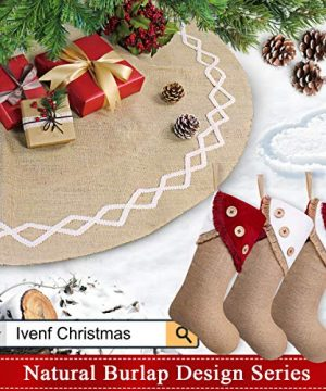 Ivenf Christmas Stockings 3 Pack 18 Inch Large Original Burlap Handcraft Stockings With Tassel For Family Holiday Xmas Party Decorations 0 5 300x360