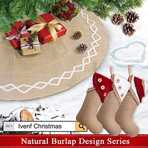 Ivenf Christmas Stockings 3 Pack 18 Inch Large Original Burlap Handcraft Stockings With Tassel For Family Holiday Xmas Party Decorations 0 5