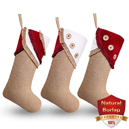 Ivenf Christmas Stockings 3 Pack 18 Inch Large Original Burlap Handcraft Stockings With Tassel For Family Holiday Xmas Party Decorations 0