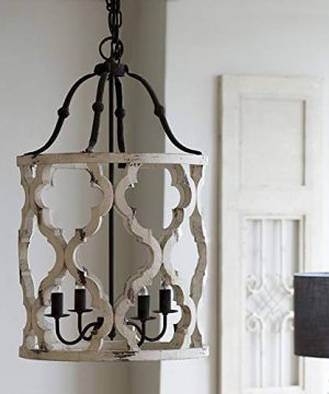 Jiuzhuo Vintage Distressed White Carved Wood 4 Light Lantern Farmhouse Chandelier Lighting Hanging Ceiling Fixture In Rust 0 300x360