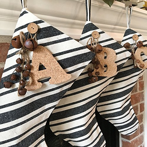 Jubilee Creative Studio 18 Dark Charcoal Gray Stripe Rustic Christmas Stocking With Personalized Letter Charm And Rusty Bell Ornament 0 0