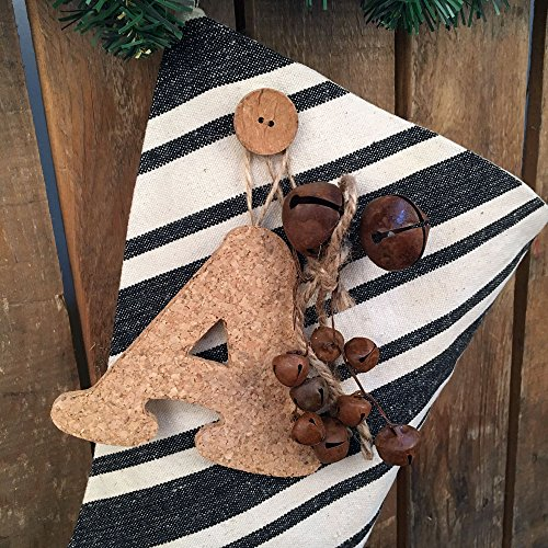 Jubilee Creative Studio 18 Dark Charcoal Gray Stripe Rustic Christmas Stocking With Personalized Letter Charm And Rusty Bell Ornament 0 1