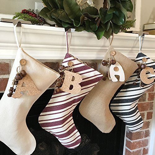 Jubilee Creative Studio 18 Dark Charcoal Gray Stripe Rustic Christmas Stocking With Personalized Letter Charm And Rusty Bell Ornament 0 2